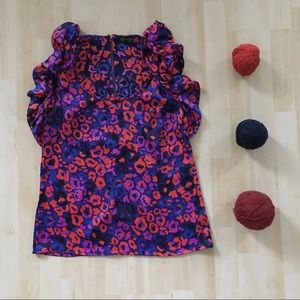 Topshop abstract floral print silky top w/ ruffles
